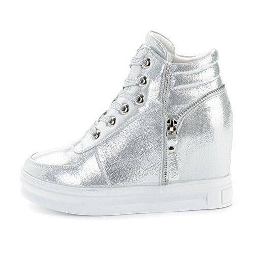Damen High Top Sneakers Ketten Zipper Keilabsatz Sportschuhe Schnürer Silber