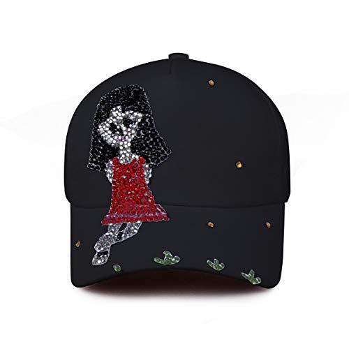 ECYC Femmes Cristaux Cloutés Strass Casquette De Baseball, Filles Coton Chapeau De Soleil Strass Snapback Hip Hop Chapeau