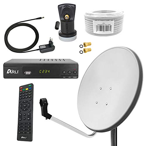 Digital Sat Anlage 60 cm Spiegel inkl. ARLI AH2 HD Receiver + Single LNB + 10m Koax Kabel + 2 F - Stecker vergoldet 1 Teilnehmer Set Camping Antenne lichtgrau Weiss 1 Teilnehmer