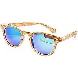 "Gafas de sol KISS® Linea madera estilo """" MOSCOT mod. Espejo VINTAGE de DEPP Johnny Depp hombre mujer unisex culto - LIGHT WOOD / Océano"