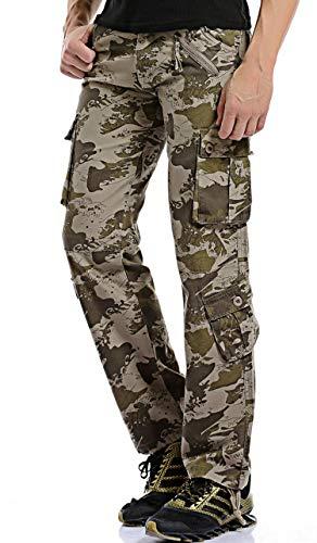 Gmardar Pantaloni Uomo Cargo Pantaloni da Lavoro con Multitasca Tasche Laterali Elegante Cotone 100% Larghi Fit Casual Taglie Forti Pantaloni Militari Estivi Invernali (Camo-B, 44W/36L)