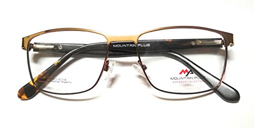 Mountain plus. Near vision spectacles with original crizal anti reflection UV protected lens metal full frame golden brown color for men and women. (+2.50 power near vision)