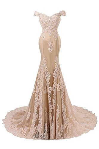 JAEDEN Abendkleider Lang Ballkleider Spitze Hochzeitskleider Meerjungfrau Satin Brautkleider Damen Champagner EUR40
