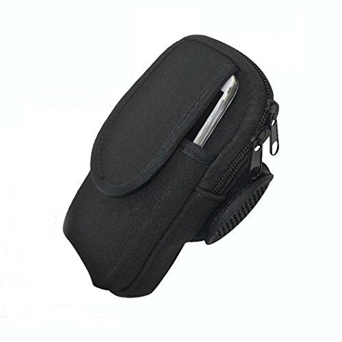 zoohot cintura da corsa, da uomo e da donna Fitness Cintura e Fascia da braccio per cellulare borsa, portafoglio, Card, Armadio Storage Bag, Large-Black-Y Oversized-Black-N