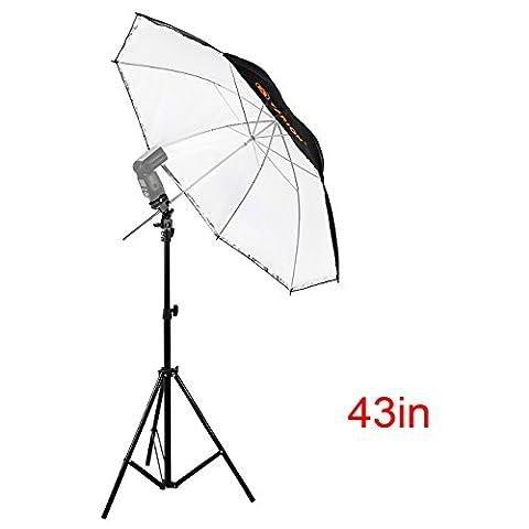 TARION kit d'éclairage : 2 en 1 110cm Parapluie Réflecteur Diffuseur + Support de flash + Trépied extensible 810-2000mm pour Studio Photo Vidéo
