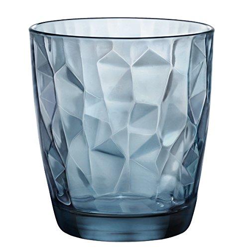 Bormioli Rocco 302259 Diamond Ocean Blue Whiskyglas, 390 ml, Glas, blau, 6 Stück -
