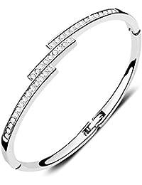 CECE DEE - Bracelet pour Femme/Fille - Cristal Autrichien Clair - Plaque Or Blanc 18k - Bijou Fantaisie et Brillant - Cadeaux de Mariage - Diametre:5.7cm