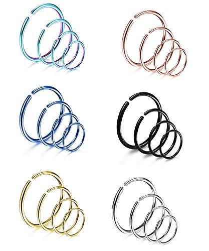 Finrezio 24 Stücke 18G Edelstahl Ring Piercing Für Frauen Männer 6 Mischfarben Nasenring Hoop Piercing Set