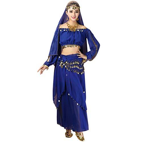 4 teile/satz Frauen Bauchtanz Kostüme Indian Dance Performance Kleidung Top Rock Taille Kette Kopf Schleier Anzug ()