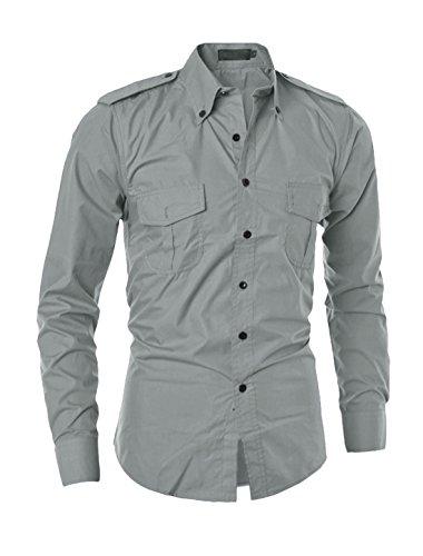 sourcingmap Man Kragen Enge Passform Bedruckt Hemd grau-Pure