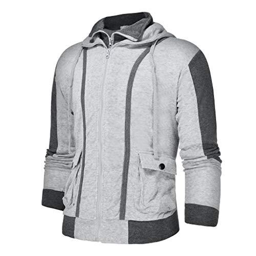 Z-MENG Herren Casual Cotton Jacket Sportjacken für Herren Fashion Langarm Reißverschluss Gefälschte Zweiteilige Sweatshirt Tops Bluse übergangsjacke Herren (L, Grau)