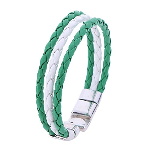 YouN World Cup National Flag Leather Bracelets Weave Braided Wristband/Nigeria