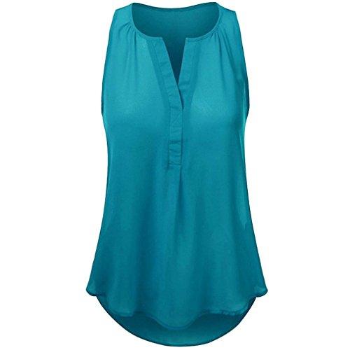 VEMOW Heißer Verkauf Elegante Damen Frauen Sommer Strand Weste Top Sleeveless Bluse Beiläufige Weste Tank Lose Tops T-Shirt Pullover(Grün, EU-40/CN-M) (Crinkle Tunika Seide)