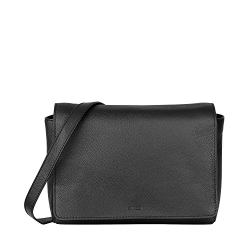 BREE Cary 11, Black, Cross Shoul. With Flap - Borse a spalla Donna, Schwarz (Black), 8x18x15 cm (B x H T) Nero (Black)