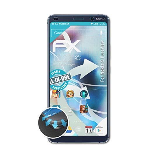 atFolix Schutzfolie passend für Nokia 9 PureView Folie, ultraklare und Flexible FX Displayschutzfolie (3X)
