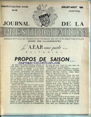 JOURNAL DE LA PRESTIDIGITATION [No 179] du 01/07/1954 - PROPOS DE SAISON. par Collectif