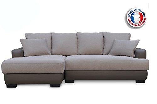 Canapé d'Angle Convertible/Irréversible Canapé lit Crème/Marron foncé 233 x 147 x 83 cm,Canapé d'angle Simili Cuir 5 Places