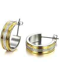 bigsoho Titanium Stainless steel Silvery Sparkle Ringlike Men/Women Hoop Earrings