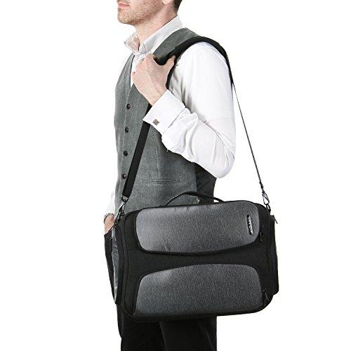 Lifewit Tasche für Laptop 15,6 Zoll mit USB-Ladeanschluss Wasserdicht Business Arbeit Computer Tasche Umhängetasche Schultertasche (Schwarz) (Computer Wasserdichte)
