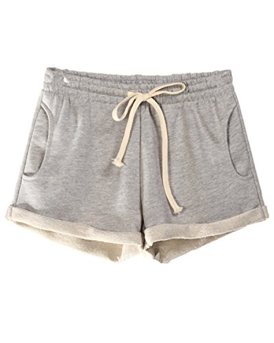 EMIN Damen Lose Baumwolle Sporthose Shorts Hot Pants Strand Running Gym Yoga Hosen mit Taschen Hellgrau