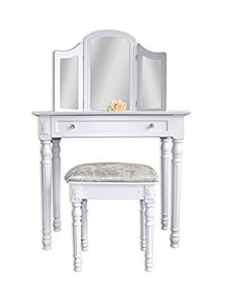 Vanity table Dressing table toilette make-up table with 3 panels mirror and stool ottoman included bedroom entrance (cod. 0-1404)