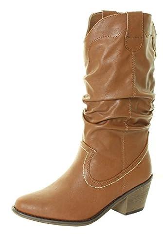 Womans New Ladies Cowboy Western Line Dancing Knee Calf High Cuban Heel Boot Black Tan Brown White Sizes 3 4 5 6 9