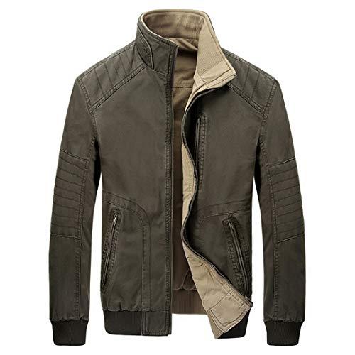 Männer Zwei-seitig tragen Jacke Herbst lässig Armee grün Mantel Frühling 100% Baumwolle Khaki Klassische Jacken Mäntel ZDA518 Army Green XXXL -