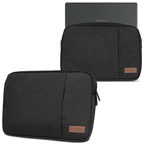 Medion Akoya E3216 Hülle Notebook Tasche in Schwarz oder Grau Laptop Schutzhülle Case Cover Etui, Farbe:Schwarz