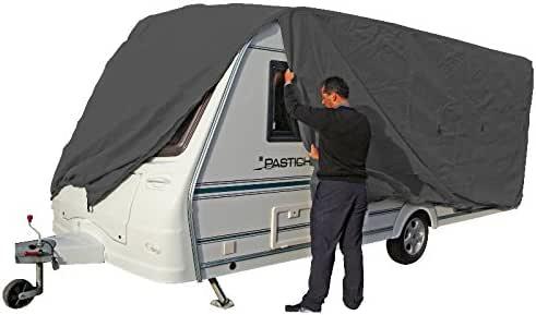 800-850*250 Typ 1: Caravan - grau - atmungsaktive Dreischichten-Schutz-Plane | 8,0-8,5m hochwertige Wohnwagen Abdeckplane Schutzh/ülle Caravanplane