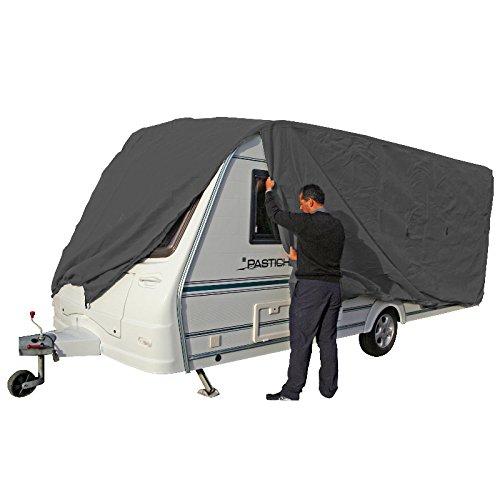 hochwertige Wohnwagen Abdeckplane Schutzhülle Caravanplane | 8,0-8,5m | atmungsaktive Dreischichten-Schutz-Plane | (Typ 1: Caravan - grau - (800-850*250))