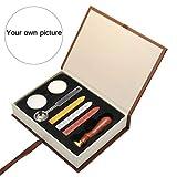 Mogokoyo Customized Kundenspezifische Gravur- Vintage-Stil Rosenholz Siegelstempel Wachs Stempel Set mit Holzgriff Siegel Personalisierte Segen (Schwarz-Weiß Bild Kundenspezifische)