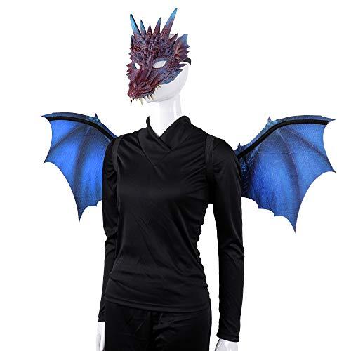 BaronHong 2-teiliges Halloween Karneval Drachenkostüm für Erwachsene - Flügel, Maske (lila, M) (Halloween Für Flügel)