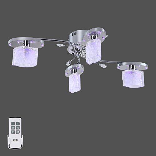LED Deckenleuchte + Fernbedienung + Blau Licht Chrom Deckenlampe Energiespar Lampe Leuchte 654-4C