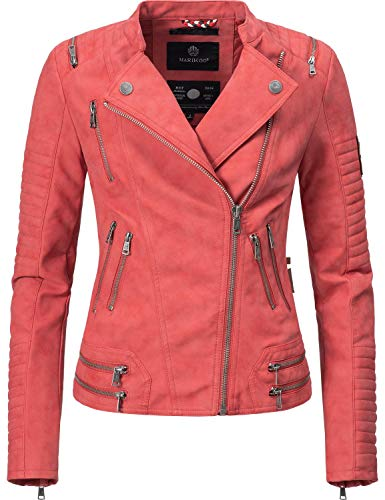 Marikoo Damen Kunstlederjacke Übergangsjacke Akikoo Rot Gr. L - Faux Wildleder Blazer Jacke