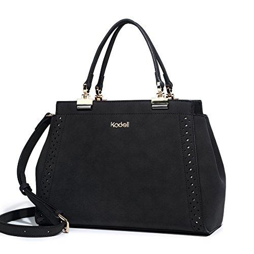 Kadell Matte Leder Handtaschen für Damen Doctor Geldbörse Hollow Out Designed Umhängetasche Schwarz (An Der Mit Rückseite-leder-satchel Reißverschluss)