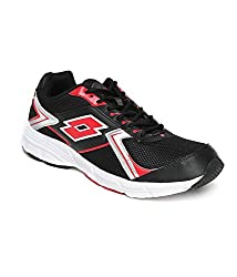 Lotto Mens Vector 1 Black & Red Mesh Running Shoes (UK-7)