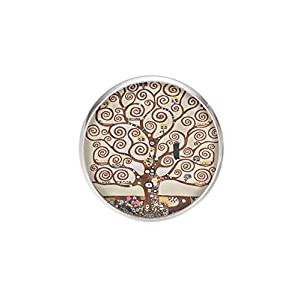 Edelstahl Brosche, Durchmesser 25mm, Stift 0,7mm, handgemachte Illustration Baum des Lebens Klimt
