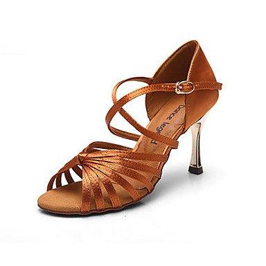 Silence @ Chaussures de danse pour femme en cuir Cuir Latin talons Stiletto Talon débutants/Professional Doré champagne