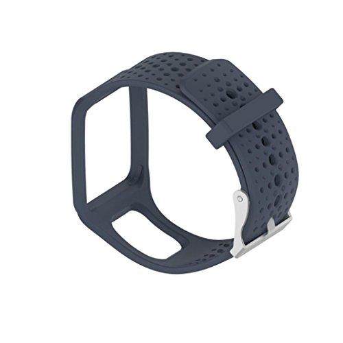 Für TomTom Runner Watch Transer® Ersatz Uhrenarmbänder für TomTom Runner Cardio GPS Watch/TomTom Runner+HRM Bandbreite: 25MM; Band: 24cm (Grau)