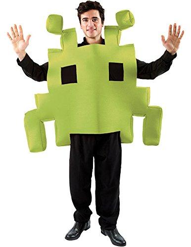 ostüm für Erwachsene Grün Karneval Fasching Mottoparty (Space Invaders-kostüm)