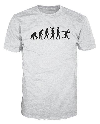 Table Tennis Evolution Funny T-shirt (M, Ash Grey) -