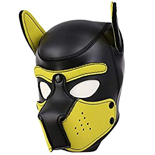 AmaMary Sexy Cosplay Puppy Mask, Sexy Cosplay Role Play Dog Full Head Mask Padded Rubber Puppy Play Mask Soft (Yellow)