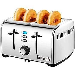 Brewsly Grille Pain Inox 4 Tranches, Toaster Multifonction 4 Fentes Extra Larges avec Controle de Temperature et Plateau de Miettes Amovible, 7 Niveaux Réglable, Sans BPA, 1700W