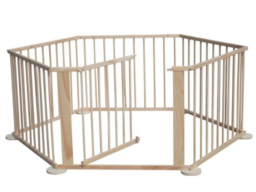 KMS FoxHunter Portable Baby Child Children Foldable Playpen Play Pen Room Divider Wood Wooden 6 Side Panel Heavy Duty New