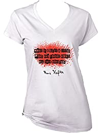 Teesquare1st Women's FRANZ KAFKA WHAT IF I SLEPT White T-Shirt
