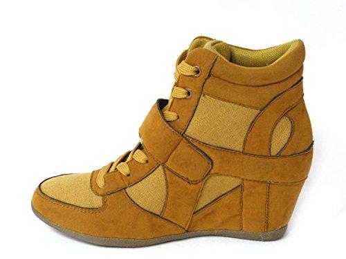 Femme Mesdames haute talon compensé à lacets dissimulé Hi Top Trainer Cheville Bottes Chaussons Taille Tan (0106)
