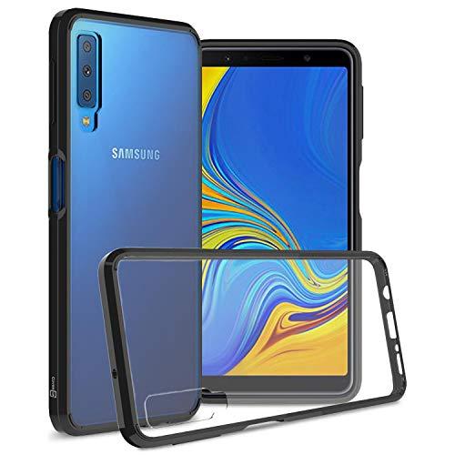 CoverON [ClearGuard-Serie] Galaxy A7 2018 transparente Hülle, Slim Fit Handyhülle mit klarer Rückseite und TPU Bumper für Samsung Galaxy A7 (2018) (A750), schwarz A700 Cell Phone