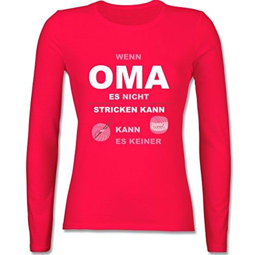 Oma - Wenn Oma es nicht stricken kann kann es keiner - tailliertes Longsleeve / langärmeliges T-Shirt für Damen Rot