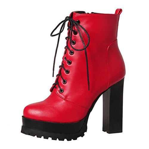 YE Damen Ankle Boots Plateau High Heels Stiefeletten mit Schnürsenkel und Blockabsatz 11cm Elegant...