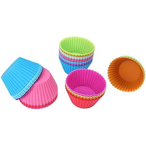 Binwo Pack de 12 moldes de silicona reutilizables para magdalenas, diseño de corazón, silicona, redondo